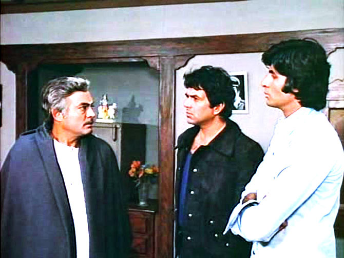 Sanjeev Kumar, Dharmendra and Amitabh Bachchan in Sholay