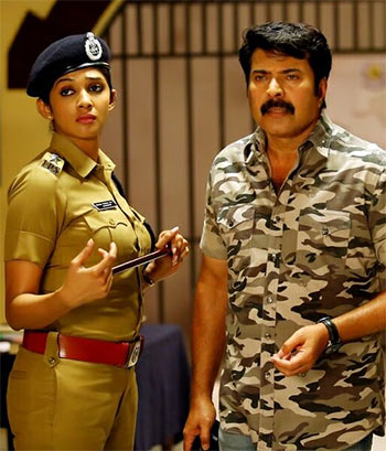Nyla Usha and Mammootty in Fireman