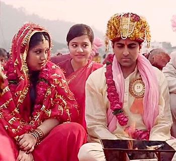 Bhumi Pednekar and Ayushmann Khurrana in Dum Laga Ke Haisha