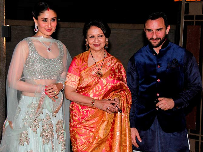 Sohas Mum Sharmila Tagore Is Flanked By Son Saif And Daughter In Law Kareena Kapoor