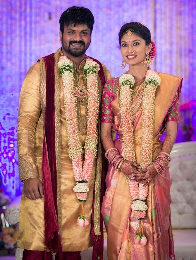 Telugu actor manoj manchu gets engaged rediff movies manoj manchu and pranathi reddy thecheapjerseys Image collections