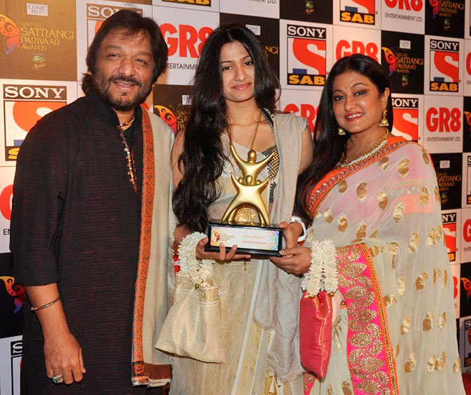Roop Kumar Rathod, with daughter Reewa, and wife Sunali