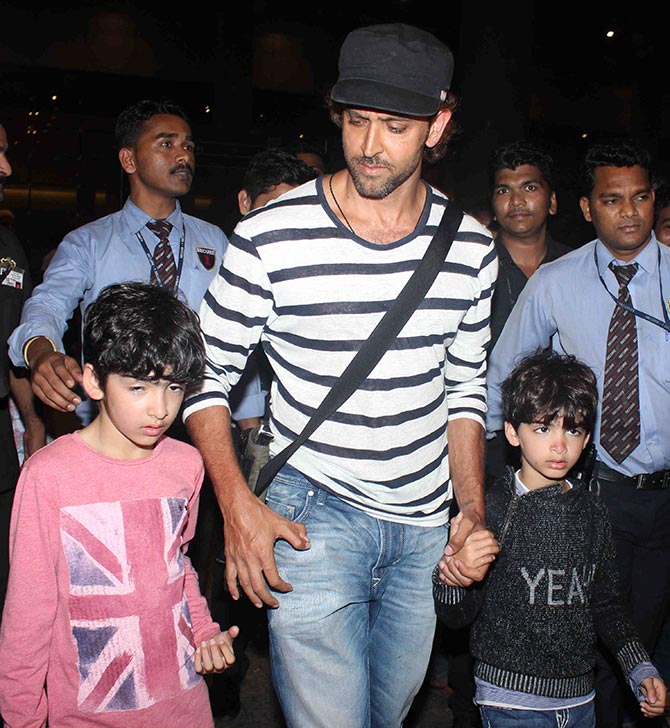 Spotted Hrithik Roshan And Sons At The Mumbai Airport Rediffcom