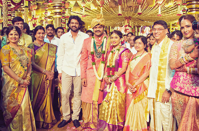 The Family From Left To Right Manoj Manchus Sister In Law Virinica Reddy Mother Nirmala Devi Actor Prabhas Manchu Pranathi