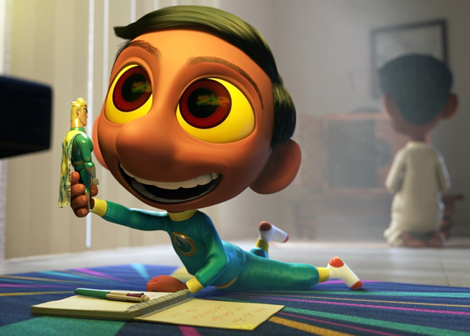 A scene from Sanjay Patel's Sanjay's Super Team, the first 'personal' film Pixar has made.