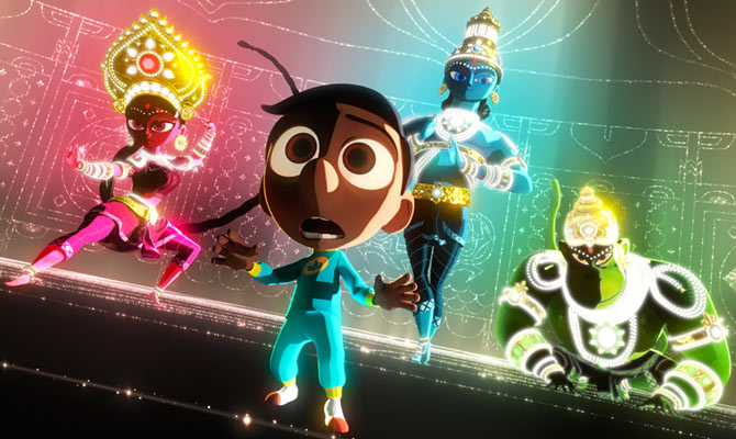 A scene from Sanjay Patel's Sanjay's Super Team, which could win an Oscar next year.