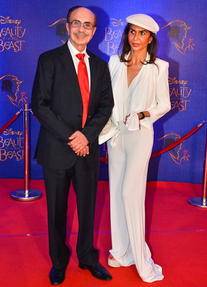 Parmeshwar and Adi Godrej arrive for a screening of Beauty And The Beast.
