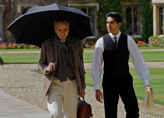 Dev Patel, right, as Srinivasa Ramanujan and Jeremy Irons as his mentor G H Hardy in The Man Who Knew Infinity.