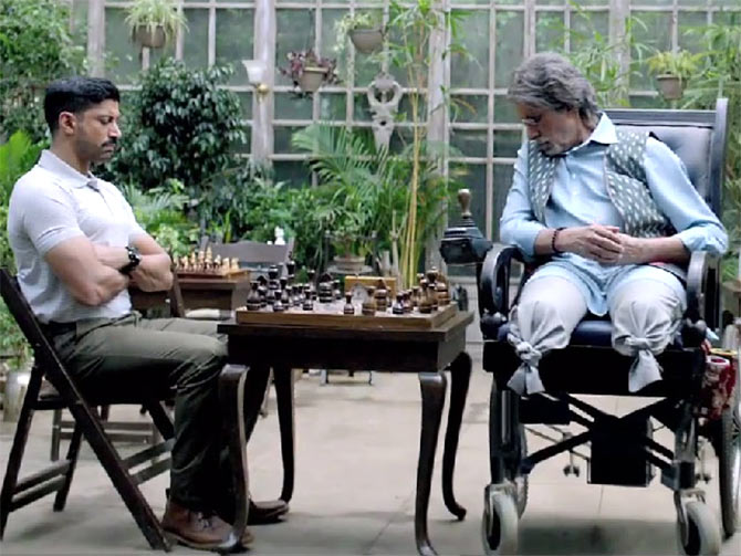 Amitabh Bachchan and Farhan Akhtar in Wazir.