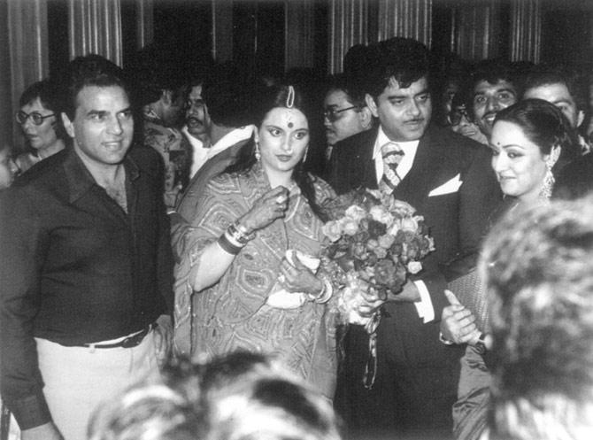Dharmendra, Poonam, Shatrughan Sinha and Hema Malini