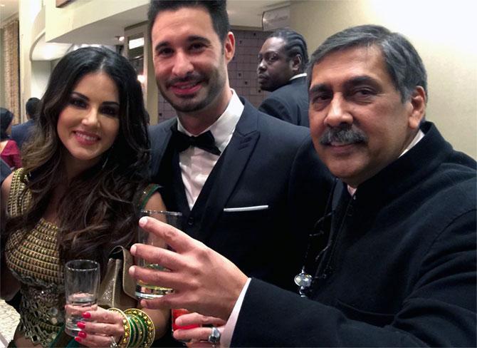 Sunny Leone, her husband Daniel Weber and Dilip Mehta