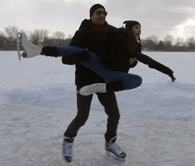 Sunny Leone and her husband Daniel Weber on the ice.