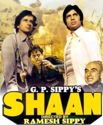 Amitabh Bachchan, Shatrughan Sinha, Shashi Kapoor and Kulbhushan Kharbanda on the poster of Shaan