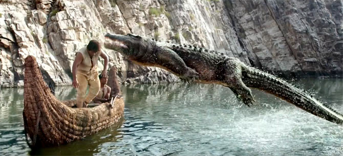 Hrithik fights the croc in Mohenjo Daro