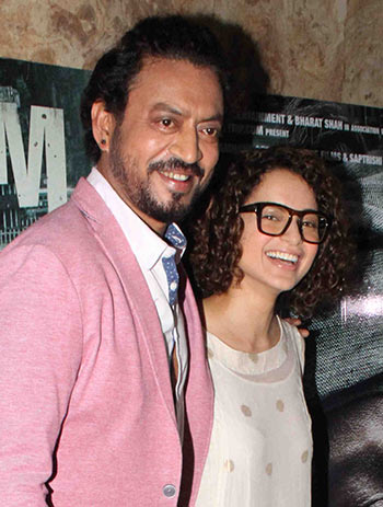 Current Bollywood News & Movies - Indian Movie Reviews, Hindi Music & Gossip - PIX: Irrfan, Kangana, Shah Rukh, Big B watch Madaari