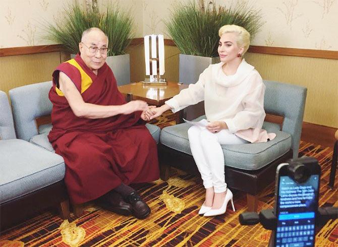 Lady Gaga meets the Dalai Lama