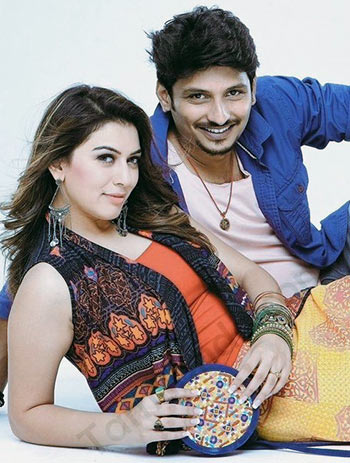 Hansika Motwani and Jiiva in Pokkiri Raja