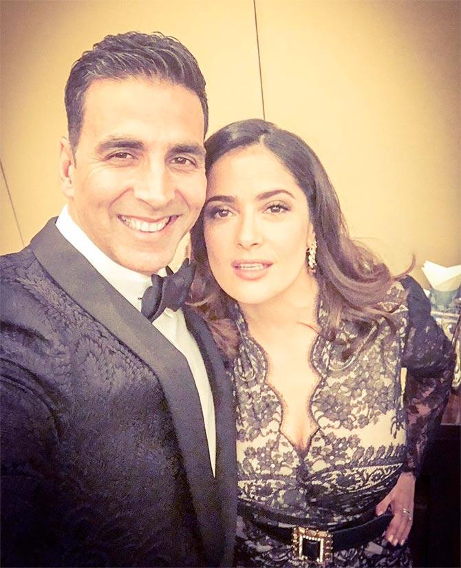Akshay, Abhishek, Parineeti meet Salma Hayek - Rediff com movies