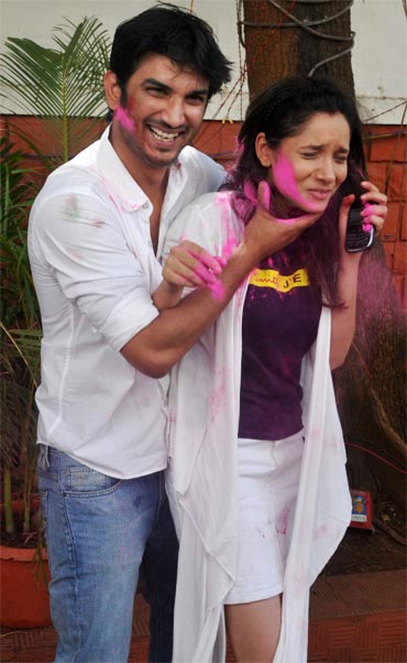 4254bc2818fc IMAGE: Sushant Singh Rajput and Ankita Lokhande at Zoom's Holi party.  Photograph: Pradeep Bandekar. Colour coordinate your outfit ...