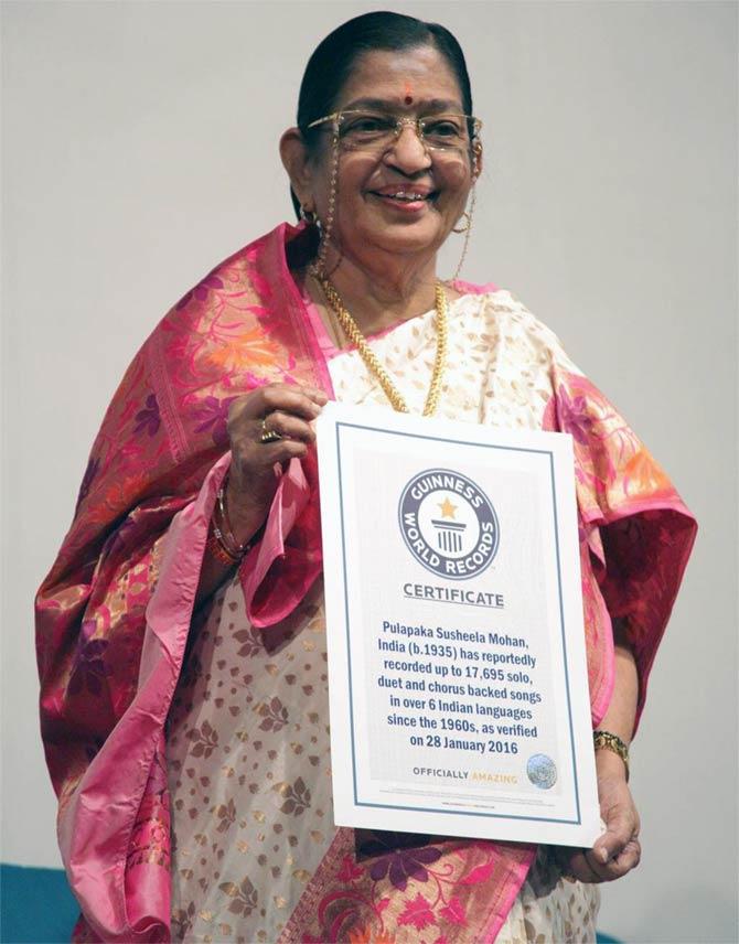p susheela enters guinness book of world records rediff com movies