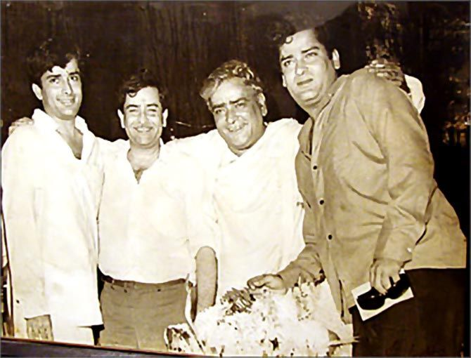Shashi Kapoor with his brothers, Raj and Shammi, and his father, Prithviraj.