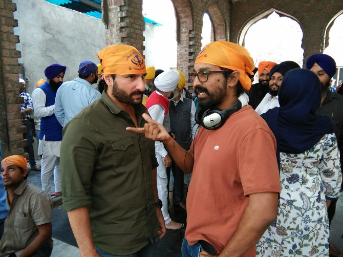 Saif Ali Khan and Raja Krishna Menon in Golden Temple shooting for Chef