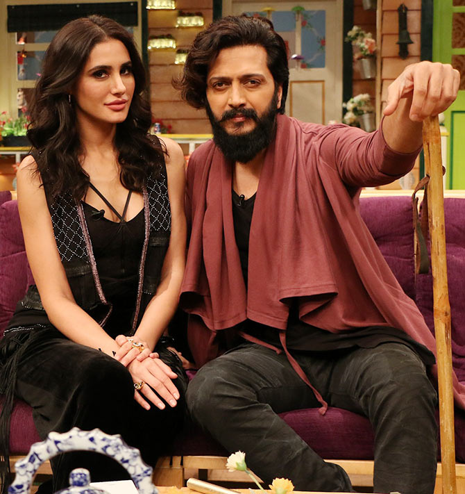 Current Bollywood News & Movies - Indian Movie Reviews, Hindi Music & Gossip - PIX: Riteish, Nargis on The Kapil Sharma Show