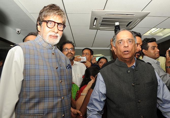 Pahlaj Nihalani with Amitabh Bachchan who inaugurated the new Central Board of Film Certification office in south Mumbai, April 2017. Photograph: Pradeep Bandekar