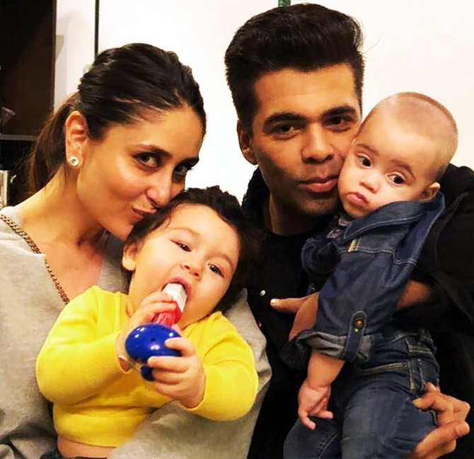 Kareena and Karan Johar with kids