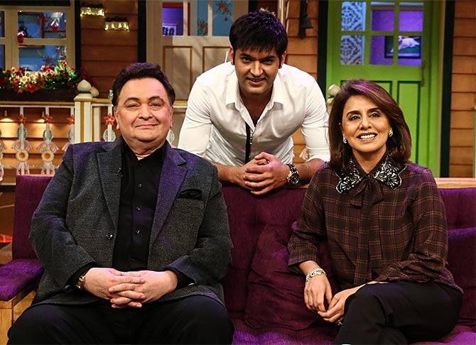 Current Bollywood News & Movies - Indian Movie Reviews, Hindi Music & Gossip - PIX: Rishi-Neetu on The Kapil Sharma Show