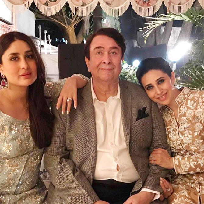 Current Bollywood News & Movies - Indian Movie Reviews, Hindi Music & Gossip - PIX: Kareena-Karisma celebrate dad Randhir's birthday