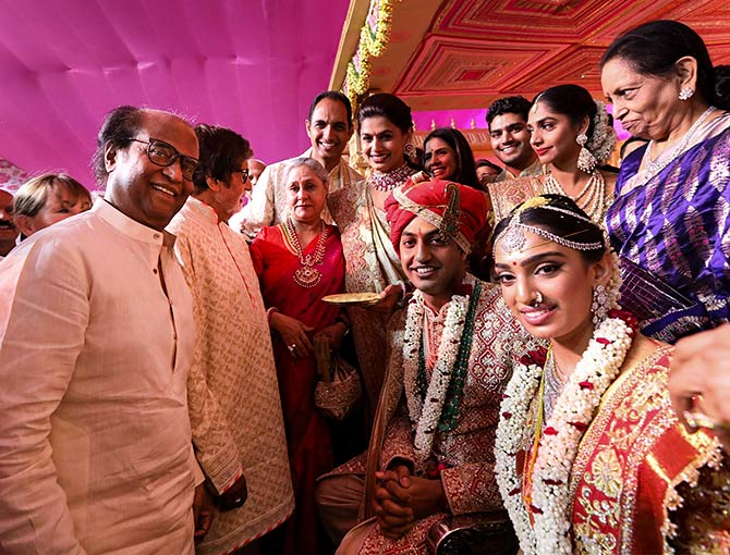 Megastar Rajinikanth with Keshav and Veena while Big B is engrossed in a conversation with wife Jaya.