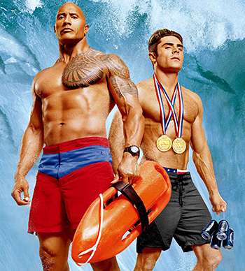 Dwayne Johnson and Zac Afron in Baywatch