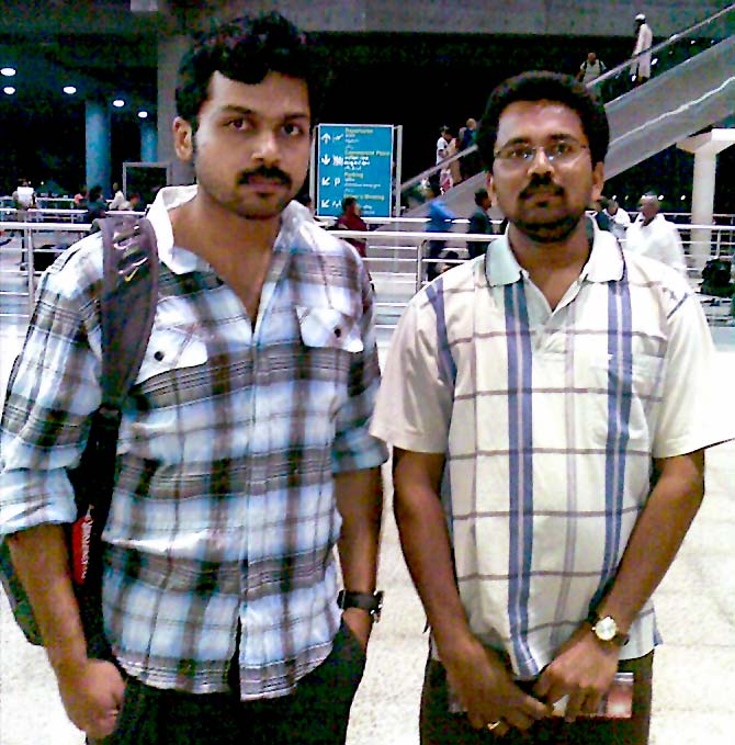 Spotted: Tamil actor Karthi at Hyderabad airport - Rediff