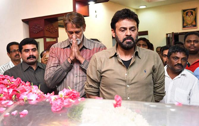 PIX: Venkatesh, Mohan Babu pay homage to Dasari Narayan Rao - Rediff