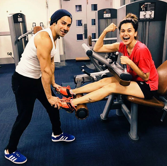 Gym budddies Varun Dhawan and Taapsee