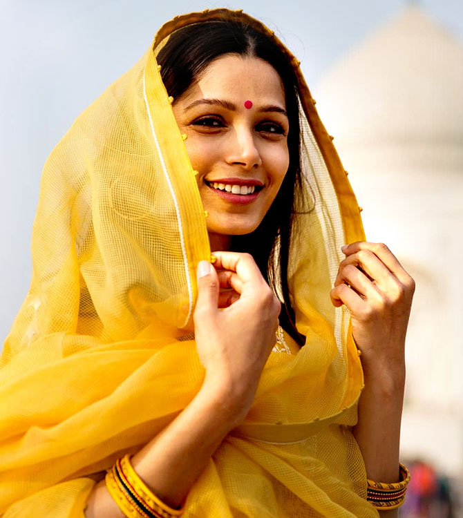 What's Freida Pinto doing in India? - Rediff.com movies