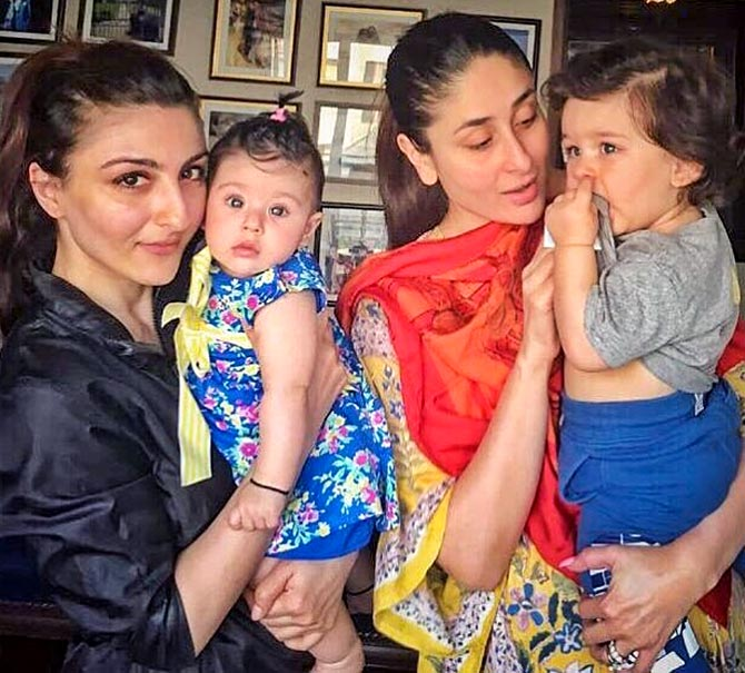 c8b28fa97f023 IMAGE: Soha Ali Khan and her sister-in-law Kareena Kapoor pose with their  cuties, Inaaya and Taimur. Photograph: Kind courtesy Soha Ali Khan/Instagram
