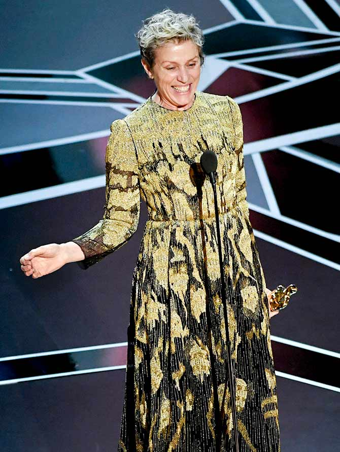 Frances McDormand, who won her second Oscar. Photograph: Kevin Winter/Getty Images