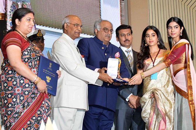 Boney Jahnvi Khushi Accept Sridevis National Award Rediff Com Movies