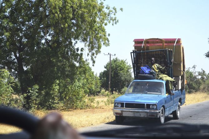 A vehicle, loaded with personal belongings, is seen travelling out of Bama, Borno State, after an attack by Boko Haram militants.