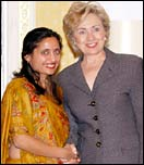 Sonal Shah with Hillary Clinton. Photo: Paresh Gandhi