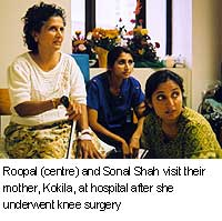 Roopal and Sonal Shah viist their mother, Kokila, at hospital after she underwent knee surgery