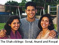 The Shah siblings: Sonal, Anand and Roopal