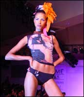 A model displays a Rina Dhaka original