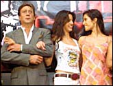 Jackie Shroff, Katrina Kaif and Padma Lakshmi on the sets of Boom