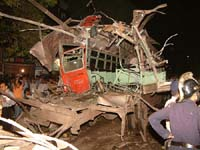 Site of Monday's bomb blast. Pic: Deepak Salvi. Click for larger image.