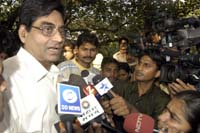 R S Sharma talking to journalists after being questioned by the SIT. Pic: Deepak Salvi