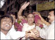 A triumphant Bharat Shah. Photo: Deepak Salvi