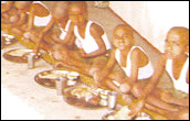 Children enjoying a meal at the school